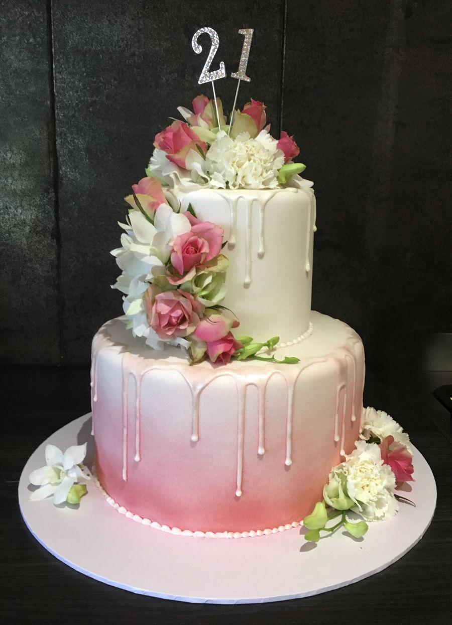 Fresh Flower 21st Cake Cakecentral Com