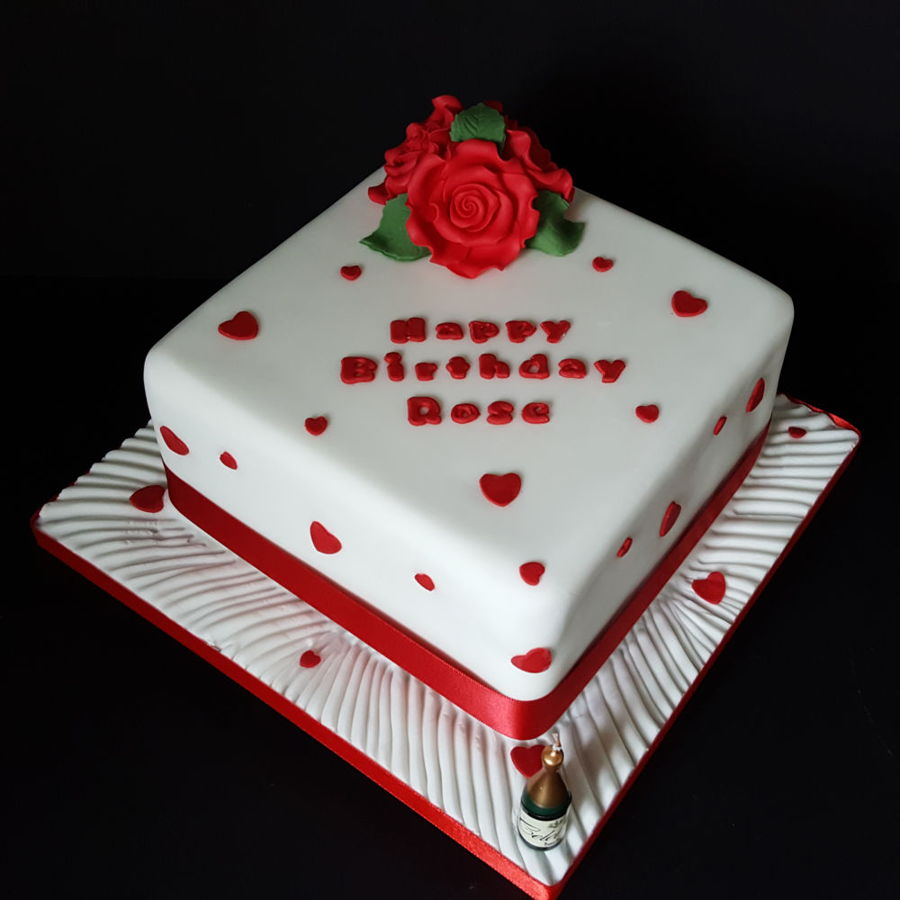 Happy Birthday Roses Cake For A Mirfield Customer. on Cake Central