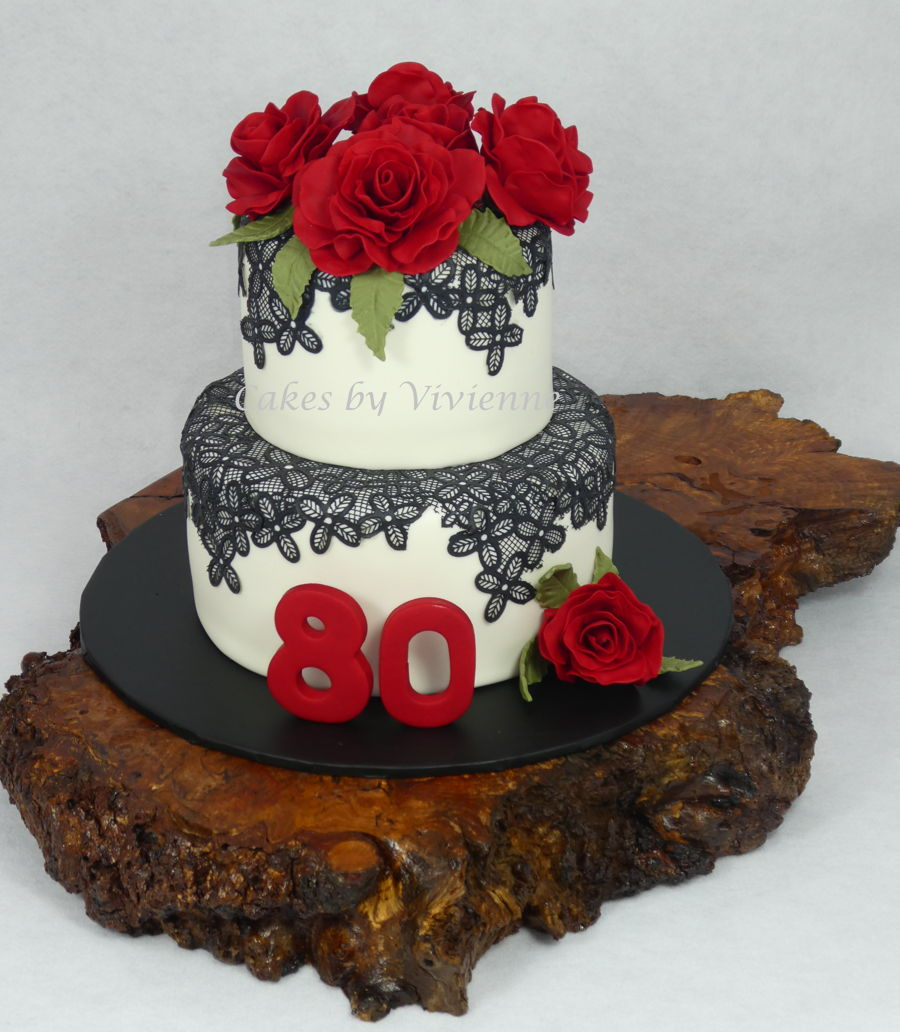 Superb Rose And Lace 80Th Birthday Cake Cakecentral Com Personalised Birthday Cards Beptaeletsinfo