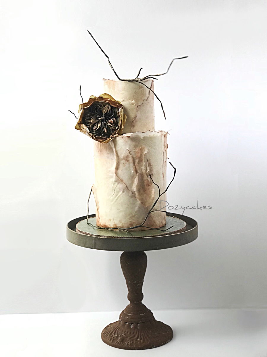 Rustic Cake Featuring Wafer Paper David Austin Rose on Cake Central