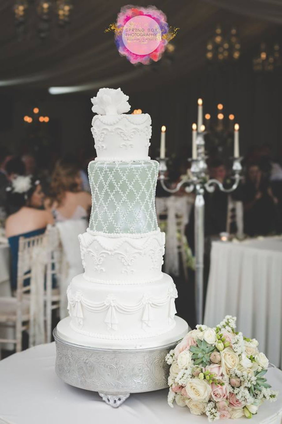 Sage Green And White Wedding Cake - CakeCentral.com