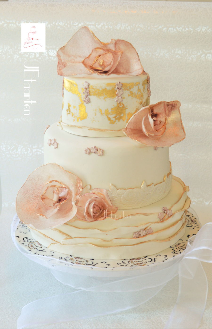 Weddingcake With Goldleaf And Ruffles on Cake Central