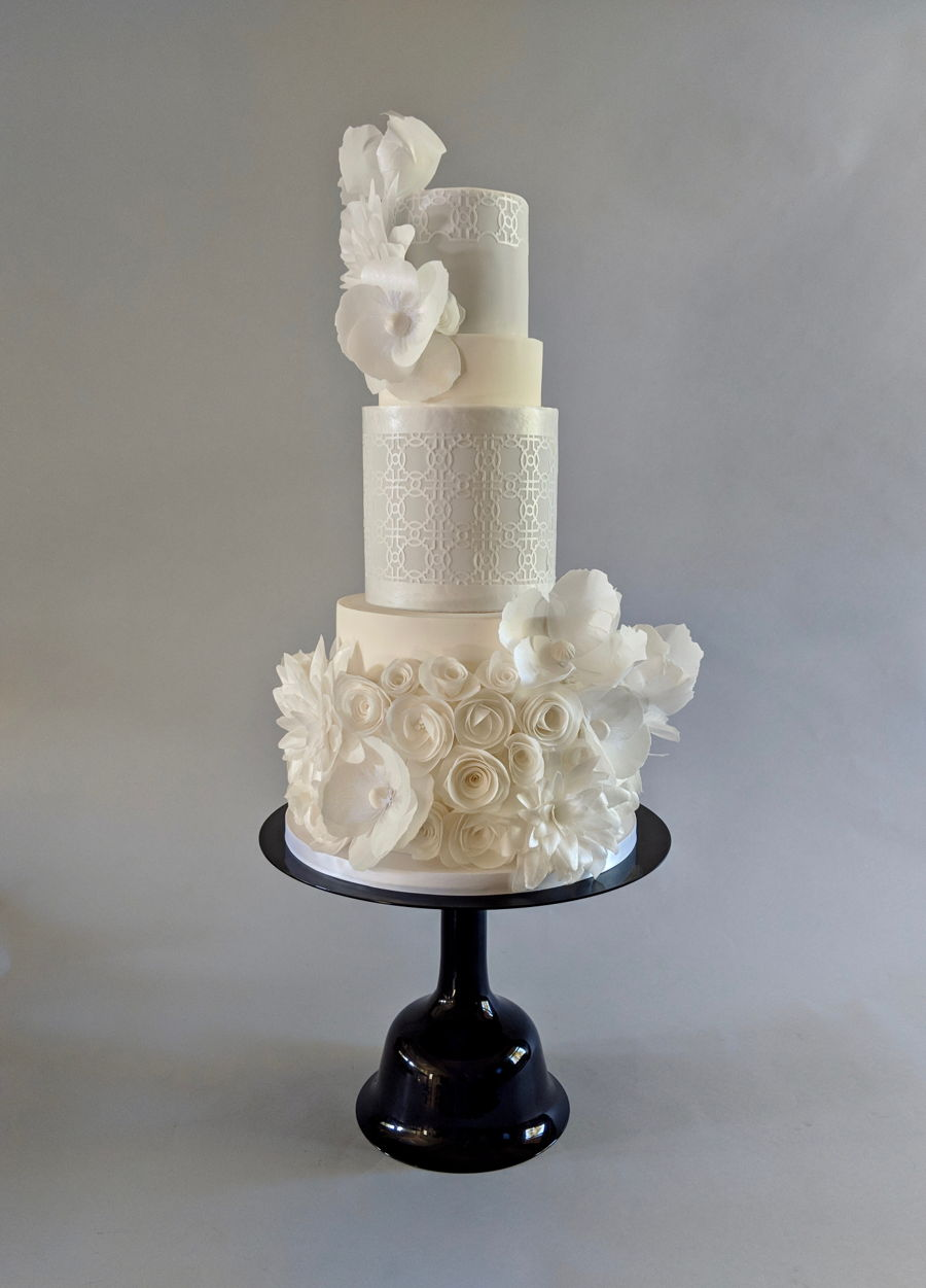 White Wedding Cake With Wafer Paper Flowers on Cake Central