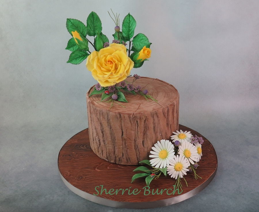 Yellow Rose, White Daisies On Stump Mbalaska on Cake Central