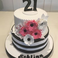 "Ashlinn's 21St Birthday Cake 10 and 8"" 2 tier cake covered with white fondant. Flowers and lettering made from gum paste. I used the numbers template... which I..."