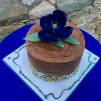 Happy Birthday Dylan Quick cake for my great-nephew's 18th Birthday. Flower is made with candy melts using Yener's Way method.