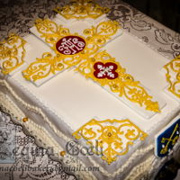 Introibo Ad Altare Dei A very special cake to celebrate the First Holy Mass of two newly ordained Priest. The design was inspired by the antique art of embroidery...