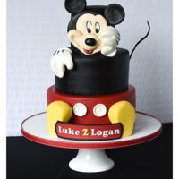 Mickey Mouse Cake For Luke And Logan Mickey Mouse and his feet are made of gum paste and modeling chocolate.
