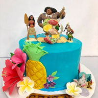 Moana Inspired by the. Tropical Islands of Hawaii in the Disney movie Moana. Swiss Meringue buttercream cake with gumpaste flowers. Seashell...
