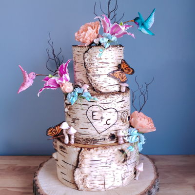 Whimsical Hummingbird Birch Cake