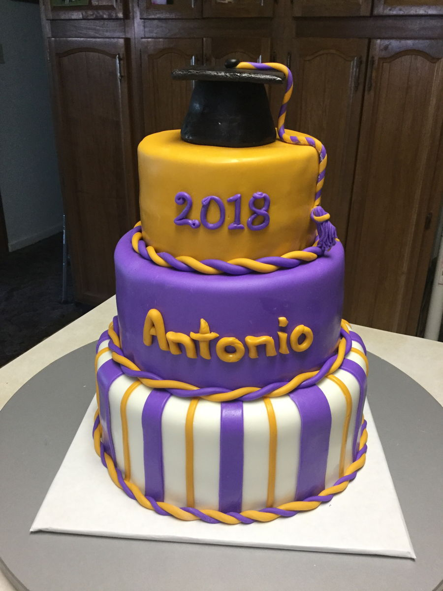 Purple Amp Gold Graduation Cake Cakecentral Com