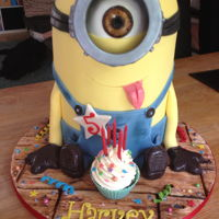"3D Minion Cake He was 7"" around the waist and stood about 15"" tall!!"