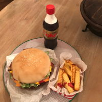 Bacon Cheese Burger With Fries And A Coke...to Go Please! This is the first time I've made a chocolate Coke bottle cake. I love the tutorial so I've always wanted to try one. So I decided...