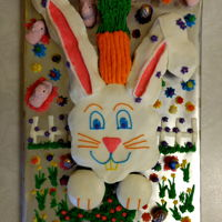 "Easter Bunny Pull-Apart Cake 2018 I call this Easter Bunny ""Carrot Top"". He has to be the goofiest Easter Bunny I know."