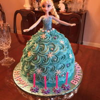 Elsa Birthday Cake Elsa cake made with Wilton doll cake pan that I used to make my daughter's BD cake 30 years ago!! Added a nine inch layer on the...