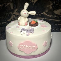 Everybunny Loves Somebunny Small top cake for a tower of cupcakes for a Christening