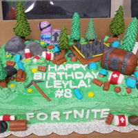 Fortnite Birthday Cake This is a 11x15 sheet cake: Chocolate with Oreo buttercream filling. Made it from scratch.