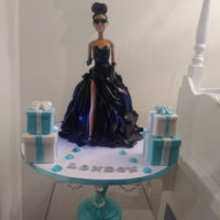 Glam Barbie Cake Breakfast at tiffanys Barbie cake. Dress is vanilla cake and fondant