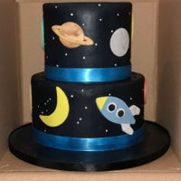 Houston We Have A Baby Space themed baby shower cake