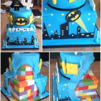 Lego Batman Cake Not too happy with the peeled back fondant, think it looks too untidy but pleased with the handcut Lego pieces!!