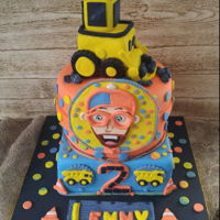"Lenny's ""2"" Birthday Cake My grandson Lenny's 2nd Birthday cake. Lenny loves trucks, all kinds of trucks, especially front end loaders..and ""BLIPPI""...."