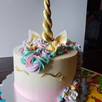 Magical Mare Made a unicorn cake for a family friend - horn, ears and eyes are gumpaste, the cake is butter cream.