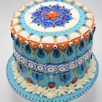 Mandala Cake For Anniversary I was inspired by this tile in Europe. Loved the color combination and decided to make a cake based on color and design. Instead of using a...