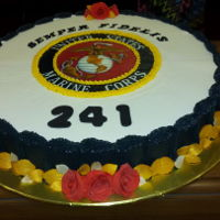 Marine Corps Ball This was the cake I made for the 241st Marine Corps Birthday Ball. It's buttercream with fondant and sugar paste decoration. Leaves...