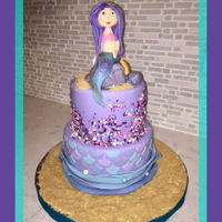 Mermaid Cake Mermaid atop a two tiered fondant covered cake. Sprinkle accents on top their and mermaid scales and coordinating waves and pearls on the...