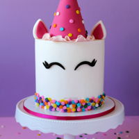 Party Unicorn Cake! The Party Unicorn Cake features a fondant party hat and edible confetti. Find the step by step tutorial, along with a free template for the...