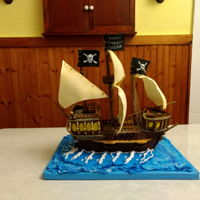 Pirate Ship Cake For Cameron 2018 Happy Barrrthday to my wonderful grandson Cameron! (Chocolate Mud Cake with Dark Chocolate Ganache)