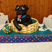 Pug Cake For My Fantastic Granddaughter Cadence 2018 White Chocolate Mud Cake with White Chocolate Ganache. Covered with Marshmallow Fondant.
