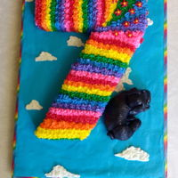 Rainbow 7 With Black Pug For Cadence 2017 My granddaughter asked for a rainbow #7 and a black pug.