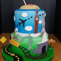 Retirement Cake This 2-tier retirement cake is for a woman who loves to travel. Being in Central Virginia, a common mode of transportation is taking the...