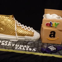 Shopping And Shoes Converse shoe and online boxes for my cousin. All made from gumpaste and cake
