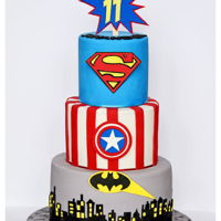 Superheroes Cake. 11th B'day Superheroes Cake.