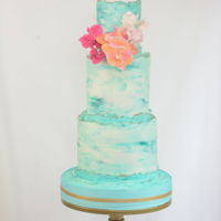 Teal Teal marbled buttercream with sugar flowers