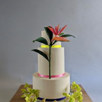 Tropical Wedding Cake I loved working on this cake! It boasts a custom colored Bird of Paradise made out of gum paste and 2 sprays of cymbidium orchids.