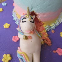 "Unicorn Cake Buttercream covered 6"" cake with fondant unicorn figure and fondant topper."