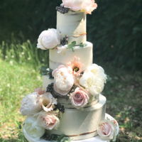 Weddingcake Pastel Flower Semi naked wedding cake with pastel flowers