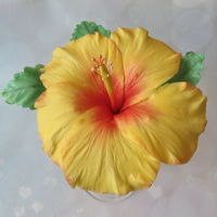 Yellow Hibiscus Flower gumpaste hibiscus flower with leaves. My first try at these flowers they have so many bright beautiful colors.