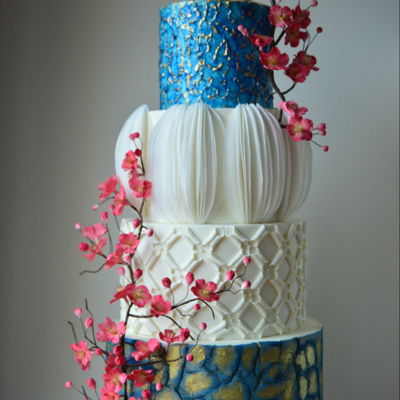Blue Gold And White Wedding Cake