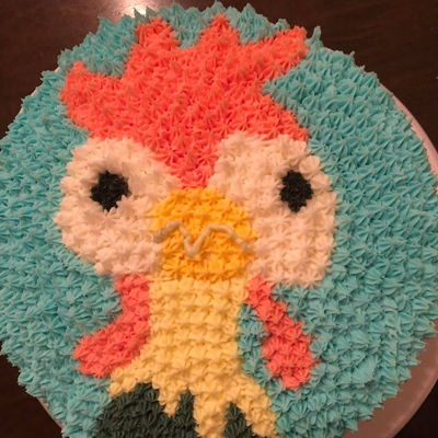 Hei Hei Cake Buttercream and Funfetti. Created to look like Hei Hei from Moana