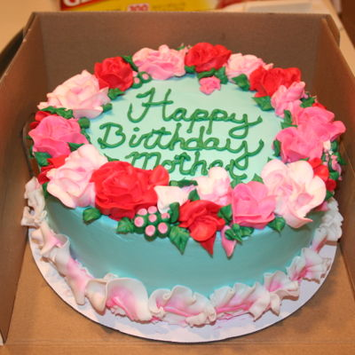 Pink And Teal Rose Cake With Ruffle