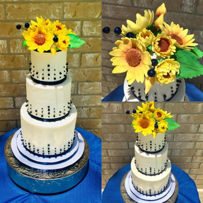 Sunflowers And Navy Wedding Cake