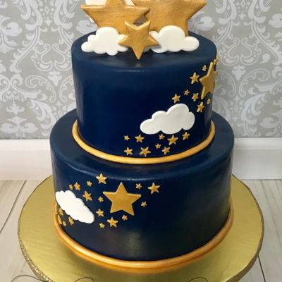 Twinkle Twinkle Little Star Baby Shower Cake This cake was part of a large dessert table. Cannoli filling. Vanilla cake. Satin Ice Fondant. Stars and clouds were made from 50/50 candy...