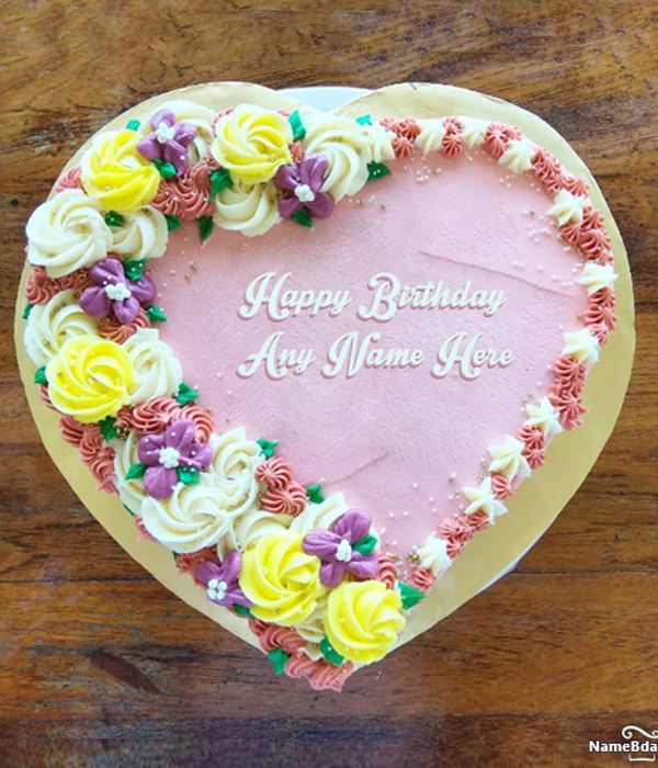 Heart Shape Birthday Cake You Can Write Name Of Birthday Person