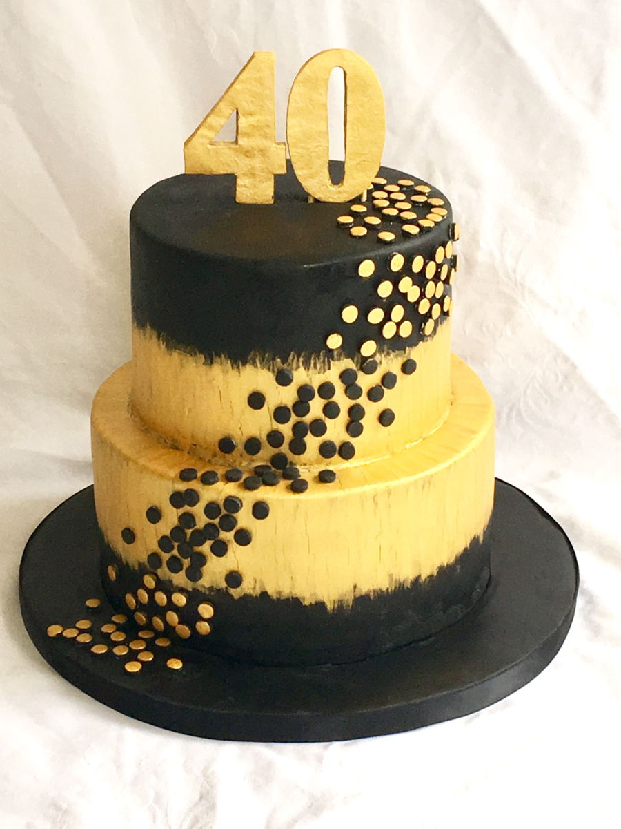 40Th Gold And Black Cake - CakeCentral.com