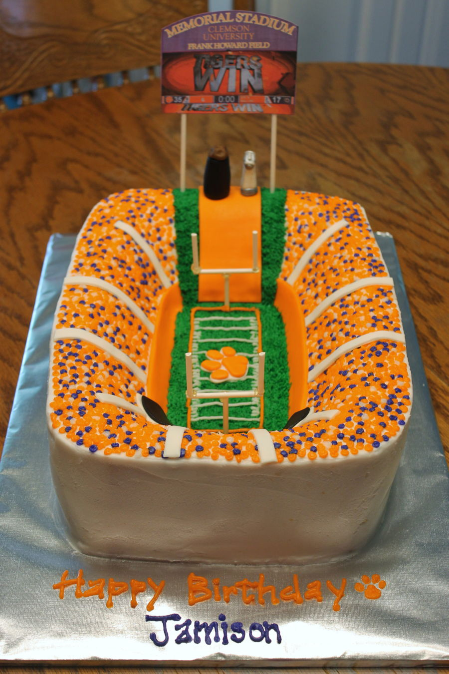 Astounding Clemson Football Stadium Cake Cakecentral Com Funny Birthday Cards Online Eattedamsfinfo
