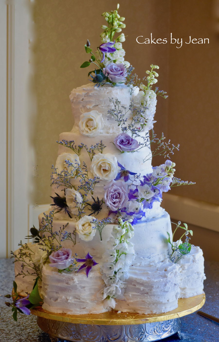 Five Tiered Floral Wedding Cake on Cake Central